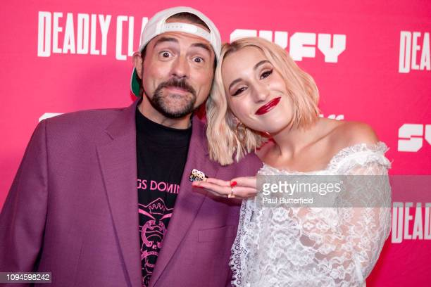 Kevin Smith and Harley Quinn Smith attend the premiere week screening of SYFY's Deadly Class hosted by Kevin Smith at The Wilshire Ebell Theatre on...