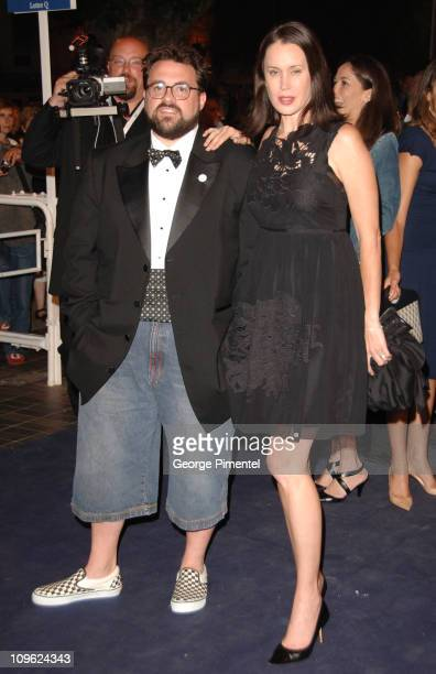 Kevin Smith and Jennifer Schwalbach Smith during 2006 Cannes Film Festival Clerks II Premiere at Palais des Festival in Cannes France