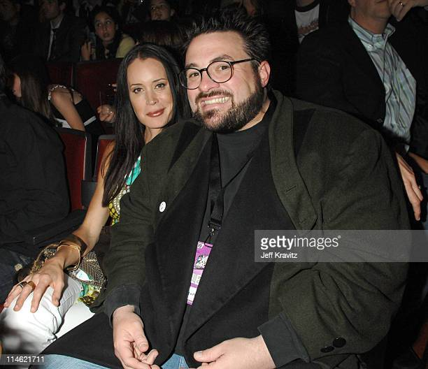 Kevin Smith and Jennifer Schwalbach Smith during 2007 MTV Movie Awards Backstage and Audience at Gibson Amphitheater in Los Angeles California United...