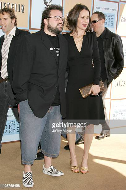 Kevin Smith and Jennifer Schwalbach Smith during Film Independent's 2006 Independent Spirit Awards Dockers in Santa Monica California United States
