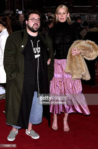 Kevin Smith and Jennifer Schwalbach Smith during Sony Ericsson Empire Film Awards Arrivals at Guildhall Arts Centre in London Great Britain