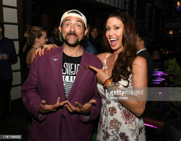 Kevin Smith and Shannon Elizabeth pose at the after party for the premiere of Saban Films' Jay Silent Bob at Yamashiro on October 14 2019 in...