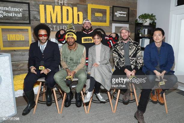 Kevin Smith Boots Riley Lakeith Stanfield Tessa Thompson Armie Hammer and Steven Yeun of 'Sorry To Bother You' attend The IMDb Studio and The IMDb...