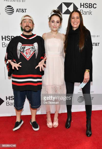 Kevin Smith Harley Quinn Smith and Jennifer Schwalbach Smith attend the screening of 'All These Small Moments' during the 2018 Tribeca Film Festival...