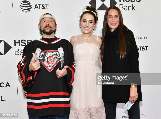 Kevin Smith Harley Quinn Smith and Jennifer Schwalbach Smith attend the screening of All These Small Moments during the 2018 Tribeca Film Festival at...