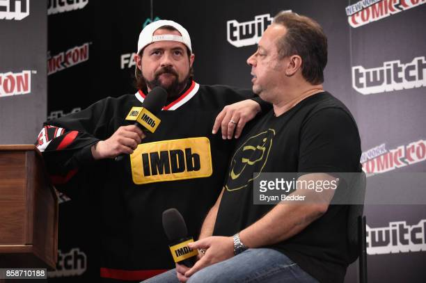 Kevin Smith interviews Marvel COO Joe Quesada onstage during IMDb LIVE at NY ComicCon at Javits Center on October 7 2017 in New York City