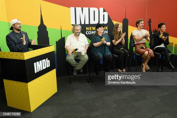Kevin Smith Peter Jackson Philippa Boyens Hera Hilmar Robert Sheehan and Jihae of 'Mortal Engines' attend IMDb at New York Comic Con Day 1 at Javits...
