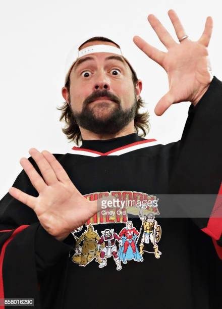 Kevin Smith poses for a photo backstage at the Comic Book Men Panel during the 2017 New York Comic Con at Hammerstein Ballroom on October 5 2017 in...