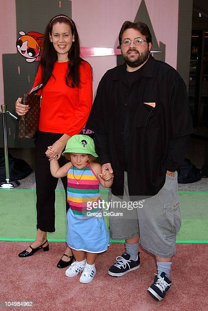 Kevin Smith wife Jennifer daughter Harley during 'The Powerpuff Girls Movie' Premiere at Loews Century Plaza Theatre in Century City California...