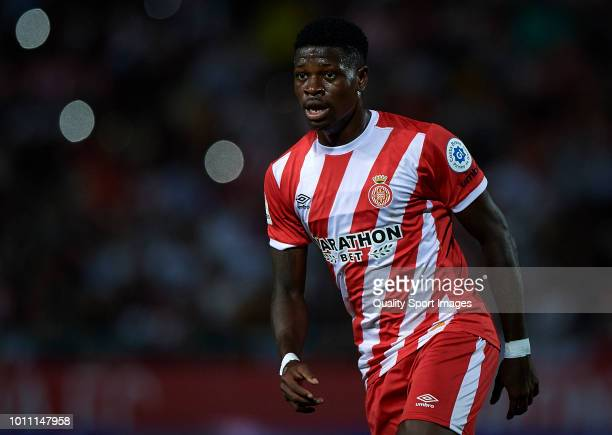 Kevin Soni of Girona looks on during the pre-season friendly match between Girona and Tottenham Hotspur at Municipal de Montilivi Stadium on August...