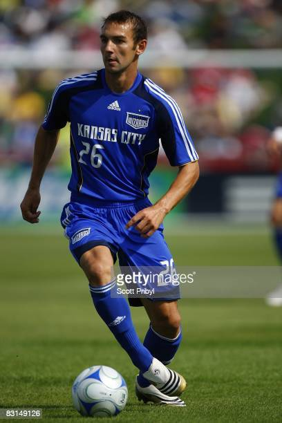 Kevin Souter of the Kansas City Wizards dribbles the ball against the Chicago Fire during the game at Community America Ballpark on October 5 2008 in...
