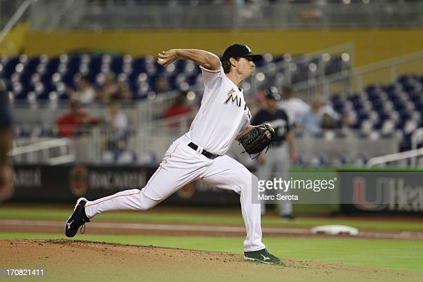 Kevin Sowey of the Miami Marlins pitches against the Milwaukee Brewers at Marlins Park on June 12 2013 in Miami Florida The Breweres defeated the...