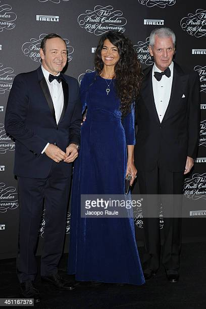 Kevin Spacey Afef Jnifen and Marco Tronchetti Provera attend The Pirelli Calendar 50th Anniversary Red Carpet on November 21 2013 in Milan Italy