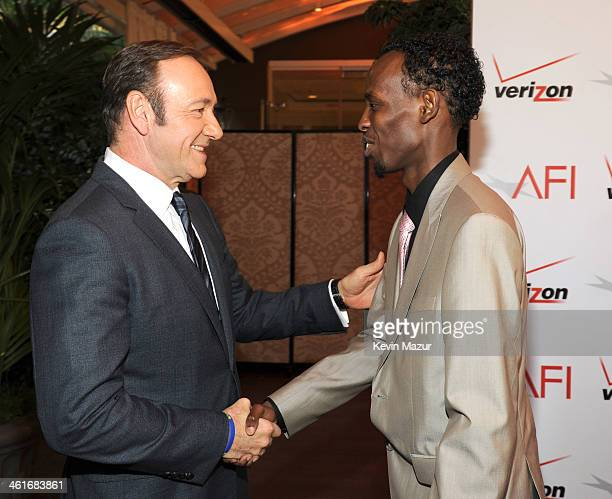 Kevin Spacey and Barkhad Abdi attend the 14th annual AFI Awards Luncheon at Four Seasons Hotel Beverly Hills on January 10 2014 in Beverly Hills...