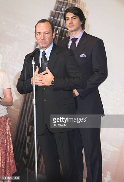 Kevin Spacey and Brandon Routh during Superman Returns Tokyo Premiere Stage Greeting at Roppongi Hills Arena in Tokyo Japan