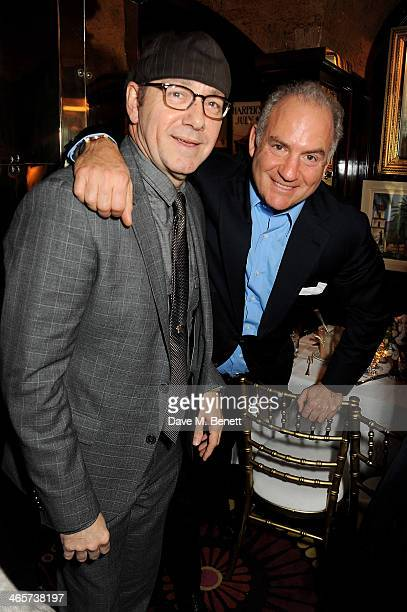 Kevin Spacey and Charles Finch attend the Charles Finch and Chanel PreBAFTA cocktail party and dinner at Annabel's on February 8 2013 in London...