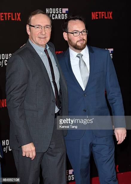 Kevin Spacey and Dana Brunetti attend the World Premiere of 'House of Cards' Season 3 at The Empire Cinema on February 26 2015 in London England