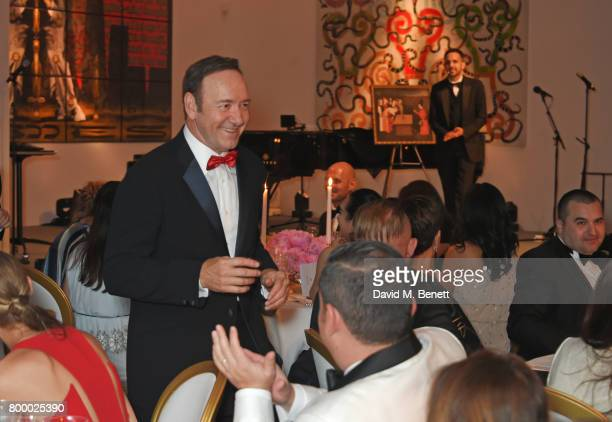 Kevin Spacey and Dynamo attend the Woodside Gallery Dinner in benefit of Elton John AIDS Foundation in partnership with BVLGARI at Woodside on June...