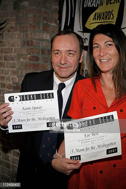 Kevin Spacey and Eve Best during Drama Desk Cocktail Reception for Nominees May 1 2007 at Arte' Cafe in New York City New York United States