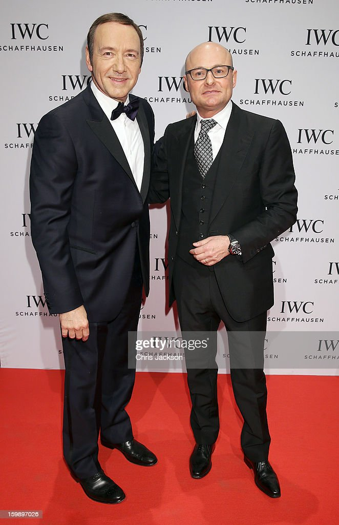 Kevin Spacey and Georges Kern attend the IWC Schaffhausen Race Night event during the Salon International de la Haute Horlogerie (SIHH) 2013 at Palexpo on January 22, 2013 in Geneva, Switzerland.