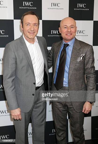 Kevin Spacey and Georges Kern visit the IWC booth during the Salon International de la Haute Horlogerie 2013 at Palexpo on January 22, 2013 in...