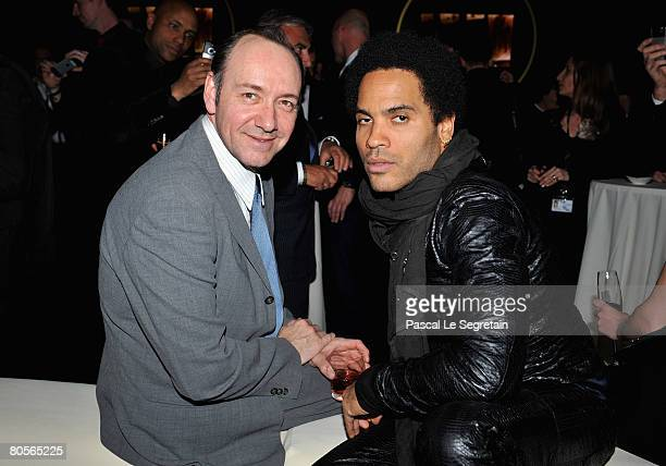 Kevin Spacey and Lenny Kravitz attend 'The Crossing' gala event hosted by IWC Schaffhausen held at the Geneva Palaexpo on April 8 2008 in Geneva...