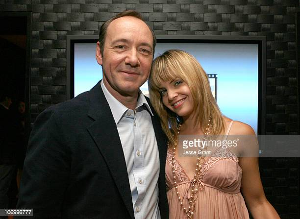 Kevin Spacey and Mena Suvari during Kevin Spacey Announces the Launch of the New Triggerstreetcom and Their Latest Venture with Budweiser Select...