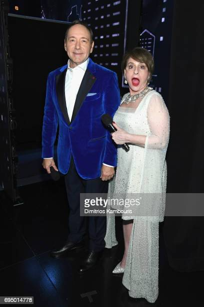 Kevin Spacey and Patti Lupone back stage at the 2017 Tony Awards at Radio City Music Hall on June 11 2017 in New York City