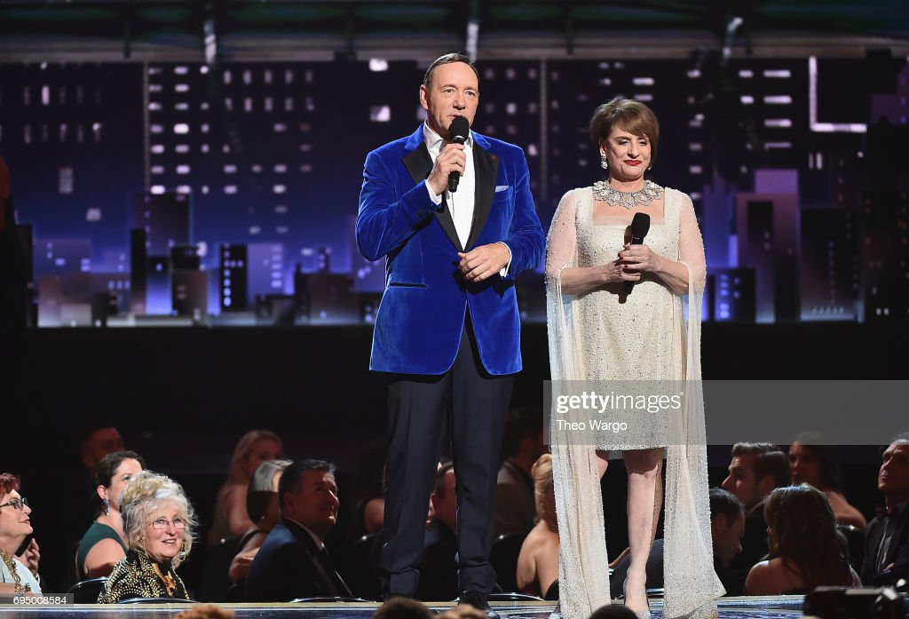 Kevin Spacey and Patti LuPone perform onstage during the 2017 Tony Awards at Radio City Music Hall on June 11, 2017 in New York City.