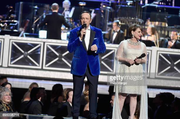 Kevin Spacey and Patti LuPone perform the finale onstage during the 2017 Tony Awards at Radio City Music Hall on June 11 2017 in New York City