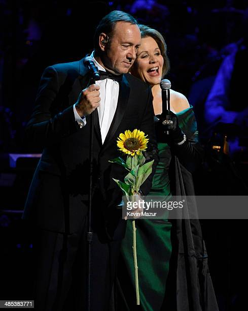 Kevin Spacey and Renee Fleming perform onstage during The 2014 Revlon Concert For The Rainforest Fund at Carnegie Hall on April 17 2014 in New York...