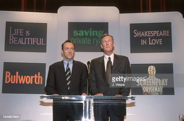 Kevin Spacey and Robert Rehme during The 71st Annual Academy Awards Nominations Announcement in Los Angeles California United States