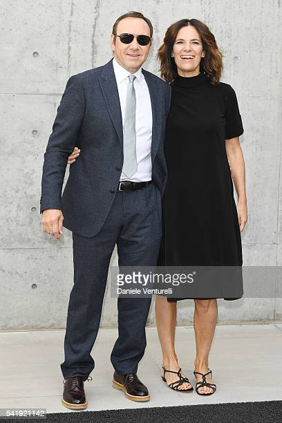 Kevin Spacey and Roberta Armani attend the Giorgio Armani show during Milan Men's Fashion Week SS17 on June 21 2016 in Milan Italy