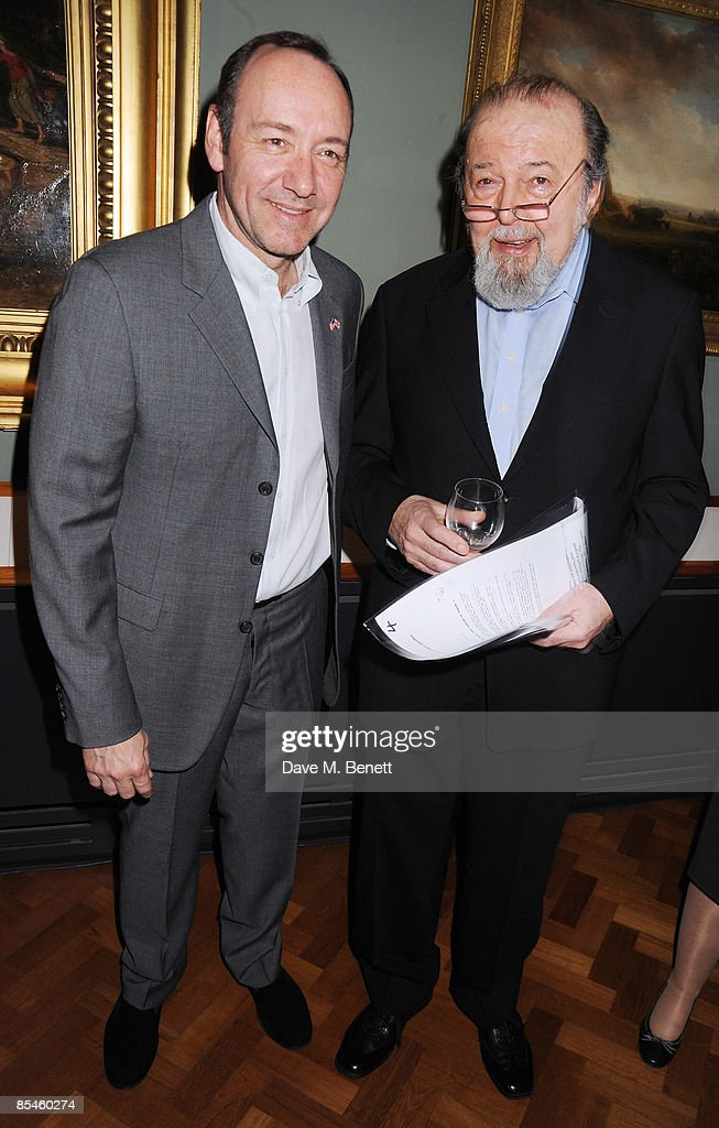 Kevin Spacey and Sir Peter Hall attend the launch party for the Victoria & Albert Museum's new theatre and performance galleries, which were opened by Sir Peter Hall and Labour's new Culture Minister Barbara Follett at the Victoria & Albert Museum on March 16, 2009 in London, England.