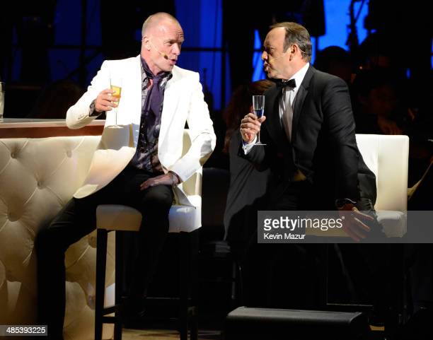 Kevin Spacey and Sting perform onstage during The 2014 Revlon Concert For The Rainforest Fund at Carnegie Hall on April 17 2014 in New York City