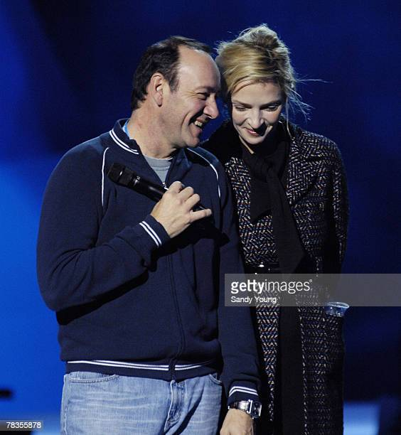 OSLO DECEMBER 10 Kevin Spacey and Uma Thurman rehearses ahead of the Nobel Peace Prize Concert on December 10 2007 in Oslo Norway