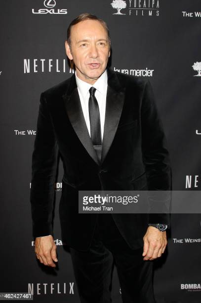 Kevin Spacey arrives at The Weinstein Company and NetFlix 2014 Golden Globe Awards after party held on January 12, 2014 in Beverly Hills, California.