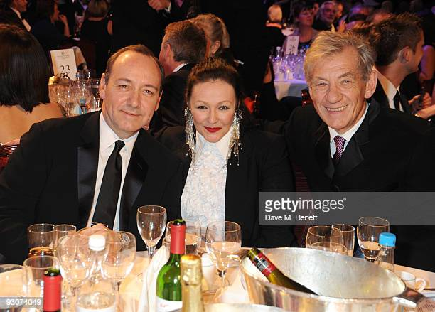 Kevin Spacey Frances Barber and Sir Ian McKellen attend the Variety Club Showbiz Awards at the Grosvenor House on November 15 2009 in London England