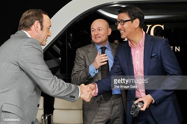 Kevin Spacey, Georges Kern and Kiichi Nakai visit the IWC booth during the Salon International de la Haute Horlogerie 2013 at Palexpo on January 22,...