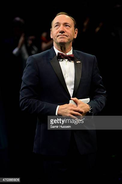 Kevin Spacey gives a speech at The Old Vic Theatre for a gala celebration in his honour as his artistic director's tenure comes to an end on April 19...