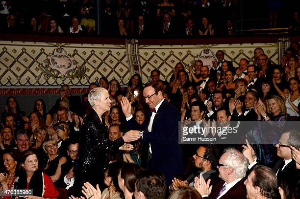 Kevin Spacey greets singer Annie Lennox at The Old Vic Theatre during the gala celebration in honour of Kevin Spacey as the artistic director's...