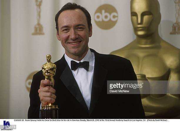 Kevin Spacey holds his Oscar for Best Actor for his role in American Beauty March 26 2000 at the 72nd Annual Academy Awards in Los Angeles CA