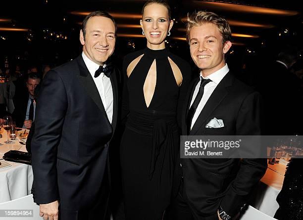Kevin Spacey, Karolina Kurkova and Nico Rosberg attend the IWC Schaffhausen Race Night event during the Salon International de la Haute Horlogerie...