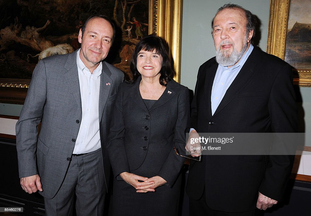 Kevin Spacey, Labour Culture Minister Barbara Follett and Sir Peter Hall attend the launch party for the Victoria & Albert Museum's new theatre and performance galleries, which were opened by Sir Peter Hall and Labour's new Culture Minister Barbara Follett at the Victoria & Albert Museum on March 16, 2009 in London, England.