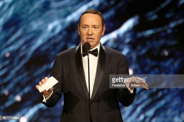 Kevin Spacey onstage to present Britannia Award for Excellence in Television presented by Swarovski at the 2017 AMD British Academy Britannia Awards...