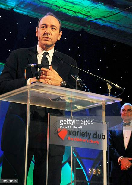 Kevin Spacey receives The Outstanding Contribution To British Theatre attends the Variety Club Showbiz Awards at the Grosvenor House on November 15...