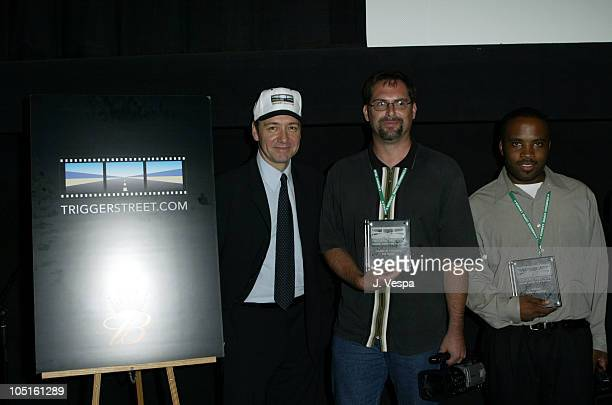 Kevin Spacey Sam Cazzo and Derrick Cameron during 2003 Toronto International Film Festival Budweiser/TriggerStreetcom Party at Lobby in Toronto...