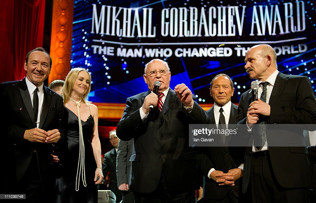 Kevin Spacey, Sharon Stone, Mikhail Gorbachev Paul Anka on stage during the finale of the Gorby 80 Gala at the Royal Albert Hall on March 30, 2011 in London, England. The concert is to celebrate the 80th birthday of the former Soviet leader Mikhail Gorbachev
