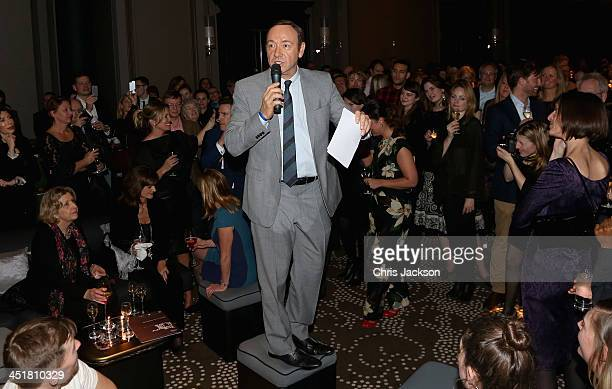 Kevin Spacey speaks at the post show party The 25th Hour following The Old Vic's 24 Hour Celebrity Gala 2013 at Rosewood London on November 24 2013...