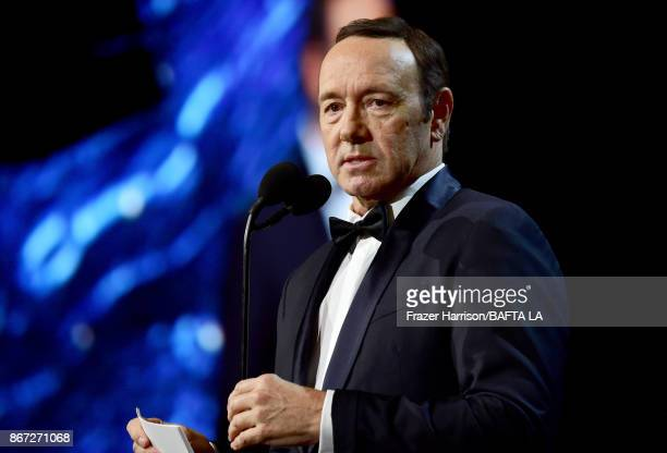 Kevin Spacey speaks onstage at the 2017 AMD British Academy Britannia Awards Presented by American Airlines And Jaguar Land Rover at The Beverly...